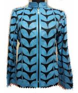 Light Blue Leather Leaf Jacket Women All Colours Sizes Genuine Short Zip... - $115.00