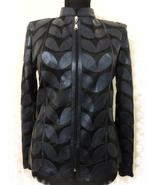 Womens navy blue leather leaf jacket xl 1 thumbtall