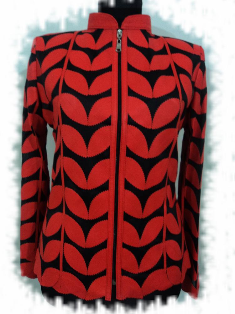 Womens orange leather leaf jacket xl 1