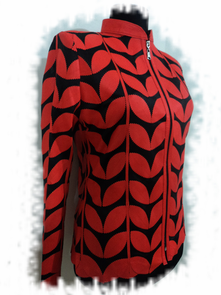 Orange Leather Leaf Jacket Women All Colours Sizes Genuine Lambskin Zip Short D1