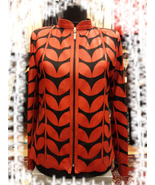 Womens red leather leaf jacket xl 1 thumbtall