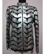 Silver Leather Leaf Jacket Women All Colours Sizes Genuine Lambskin Zip ... - $150.00