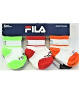 Fila Baby Boys' 6 Pack Quarter Crew Socks  6-12 Months New Free Shipping #2 - $9.89