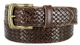 "Men's Woven Braided Crossweave Full Grain Casual Leather Belt 1-1/2"" = 38mm w... - $26.68"