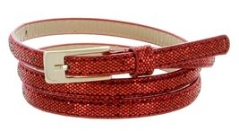 "Women's Adjustable Super Skinny Glittered Casual Dress Belt 1/4"" (7mm) Wide -... - $4.94"