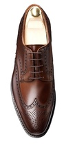 customized men's handmade brown derby wing tip full brogue