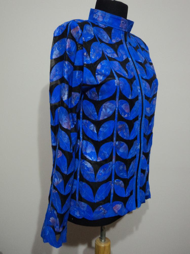 Flower Pattern Blue Leather Leaf Jacket Women All Sizes Genuine Zipper Light D1