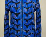 Womens flower pattern blue leather leaf jacket xl 1 thumb155 crop
