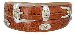 Bellerive Men's Italian Calfskin Designer Dress Belt with Golf Conchos (Allig... - $39.55