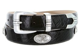 Golf Club - Men's Italian Calfskin Designer Dress Belt with Golf Conchos (54 ... - $39.55