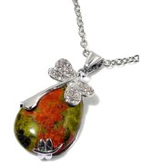 Unakite Necklace with Dragonfly 18 carats VALENTINES DAY - $89.40