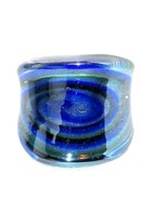 Fused Glass finger ring no stone size 7  blue VALENTINES DAY - $32.95