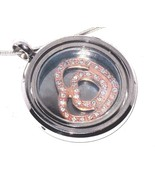 Floating Heart Spinning Pendant Austrian Crystal with chain VALENTINES DAY - $82.17