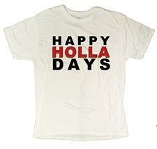 Men's Happy Holla Days Funny Christmas T-Shirt (X-Large, White) - $12.44