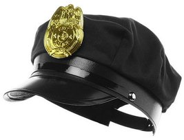 Jacobson Hat Company Police Hat with Bright Gold Plastic Badge - Black - $8.58