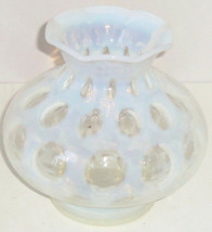 Coin Dot Ruffled Opalescent Light Blue Clear Vase Vintage Fenton - $179.95