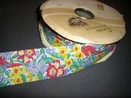 Vintage Tropical Paradise Weatherproof Fabric Ribbon 3 yards - $6.75