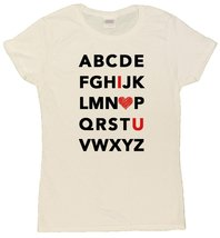Ladies Alphabet I Heart U Cute T-Shirt (2X-Large, White) - $14.35