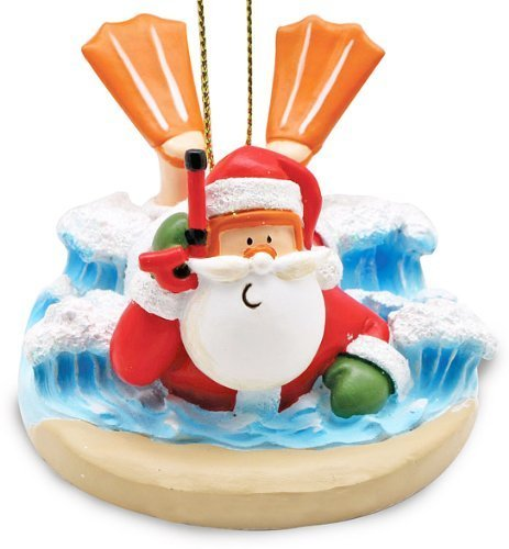 Santa Body Surfing Tropical Christmas Holiday Ornament
