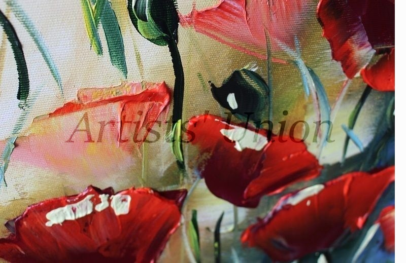 Red Poppies Palette Knife Original Oil Painting Meadow Flowers European Artist