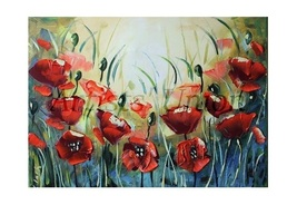 Red Poppies Palette Knife Original Oil Painting... - $240.00
