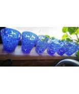 Hand Blown cobalt blue speckled etched fish rocks glasses Set of 6 ~Fabu... - $20.57