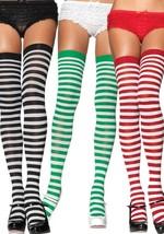 Women Thigh High Striped Over Knee Socks Cotton Stockings Santa Elf Chri... - $112,27 MXN