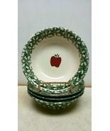 """FOLK CRAFT 8"""" CEREAL SOUP BOWLS Green Sponge Rim Red Apple Stoneware SET OF 4 - $14.00"""