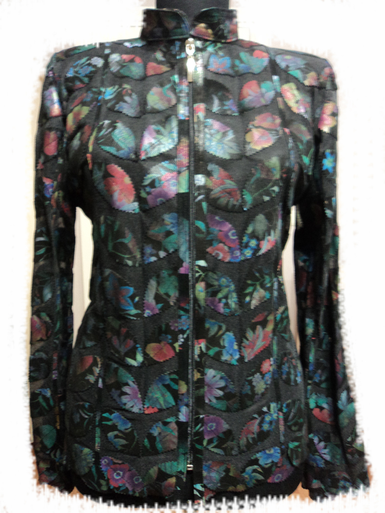Primary image for Plus Size Flower Pattern Black Leather Leaf Jacket Women All Size Genuine Zip D1