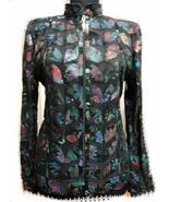 Plus Size Flower Pattern Black Leather Leaf Jacket Women All Size Genuin... - $150.00