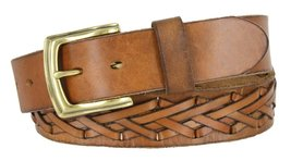 "386002-P3926 Hand Laced Full Grain Leather Belt w/ Brass Buckle 1-1/2"" (38mm)... - $29.65"