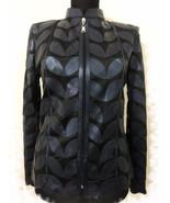 Plus Size Navy Blue Leather Leaf Jacket Women All Colors Sizes Genuine Z... - $115.00