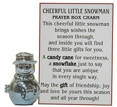 Cheerful Little Snowman Prayer Box Charm With Story Card! - $6.68