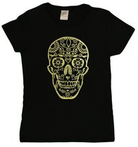 "Ladies De Los Muertos ""Day Of The Dead"" Skull Glittery Foil Print T-Shir... - $15.31"