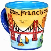 San Francisco Coffee Mug Hand Painted Yellow Trumpet Shaped 11 Ounces - $24.28
