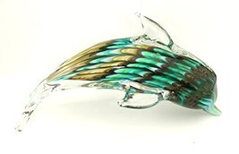 Art Glass Collection Large (10 Inch Long) Blue/Green/Brown Swirl Color D... - $28.75