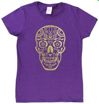 "Ladies De Los Muertos ""Day Of The Dead"" Skull Glittery Foil Print T-Shir... - $17.24"