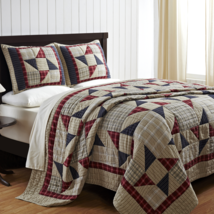 American Pinwheel - Twin - Patchwork Quilt & Sham Set - Patriotic Red, Blue, Whi