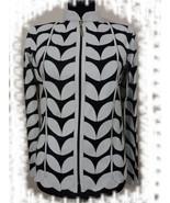 Plus Size White Leather Leaf Jacket Women All Colours Sizes Genuine Zip ... - $115.00