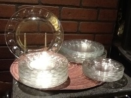 Vintage Arocroc France Thumbprint Glass Plates - Total 24 pieces - $36.85