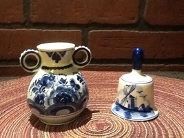 Vintage Miniature Delft Porcelain Bell and Vase - Holland - Flowers/Wind... - $14.95