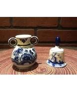 Vintage Miniature Delft Porcelain Bell and Vase - Holland - Flowers/Windmill - $14.95