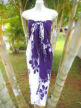 Hawaii Pareo Sarong Purple/White Plumeria Cover-up Cruise Beach Pool Wrap Dress - $14.95