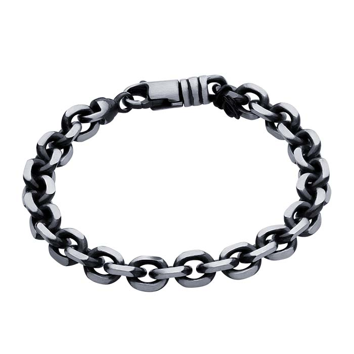 Primary image for Sterling Silver Gunmetal 9mm Diamond-Cut Cable Chain Bracelet