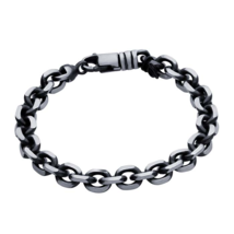 Sterling Silver Gunmetal 9mm Diamond-Cut Cable Chain Bracelet - $199.99