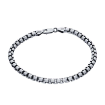 Sterling Silver Gunmetal Rounded Box Chain Bracelet - $199.99