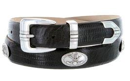 Golf Club - Men's Italian Calfskin Designer Dress Belt with Golf Conchos (36 ... - $39.55
