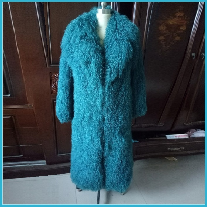 Dyed Long Mongolian Tibetan Lambs Wool Curly Hair Full Collar Genuine Fur Coat