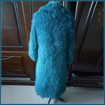 Dyed Long Mongolian Tibetan Lambs Wool Curly Hair Full Collar Genuine Fur Coat image 2