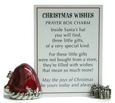 Santa's Hat Christmas Wishes Prayer Box Charm With Story Card! - $6.67